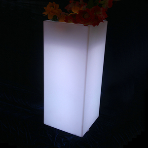 Outdoor Waterproof Remote and Rechargeable High LED Square Flower Pot
