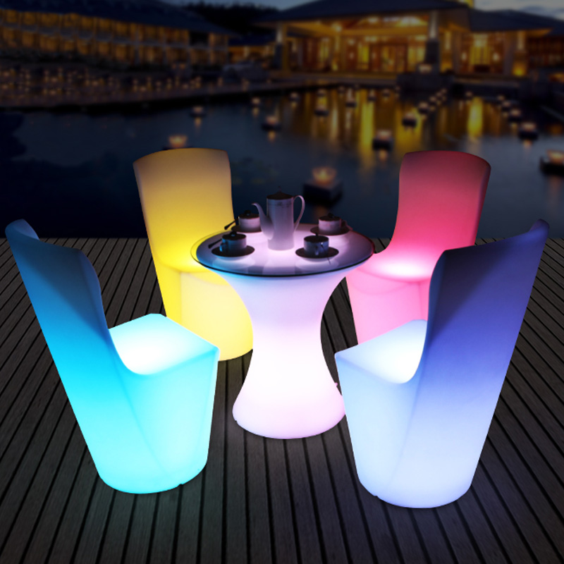 Remote and Rechargeable LED Furniture Set,LED Dining Chair,LED Small Waist Tea Table