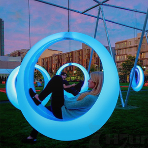 RGB Color Changeable ,Garden PE Plastic LED Swing Chairs by Solar Changing