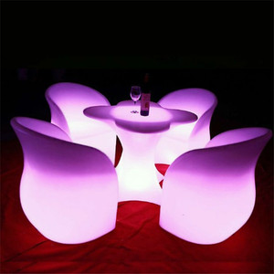 Waterproof Remote and Rechargeable LED Furniture Set,LED Plum Chair,LED Plum Table